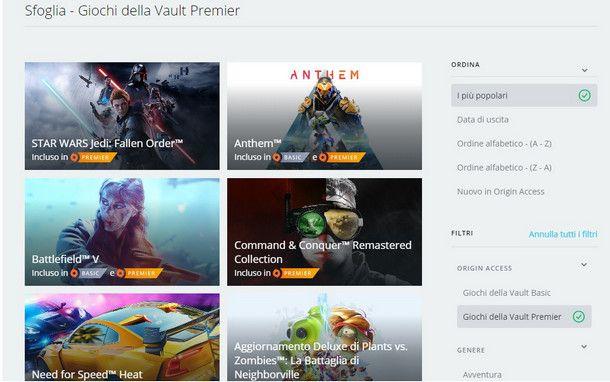 La collezione di giochi Vault di Origin Access è ora a tua disposizione!