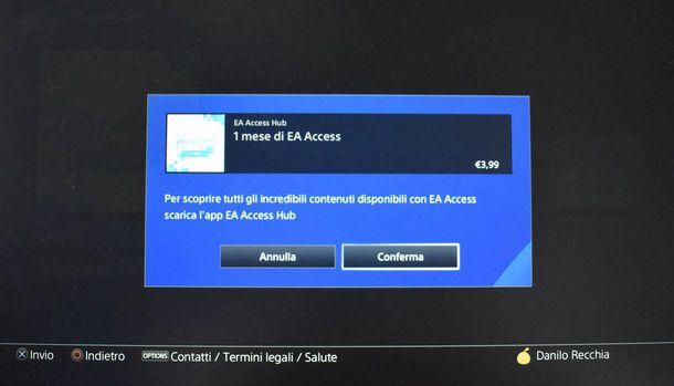 Conferma la sottoscrizione a EA Access e inizia a giocare!