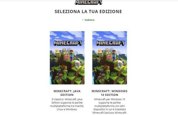 Minecraft è disponibile presso due store online