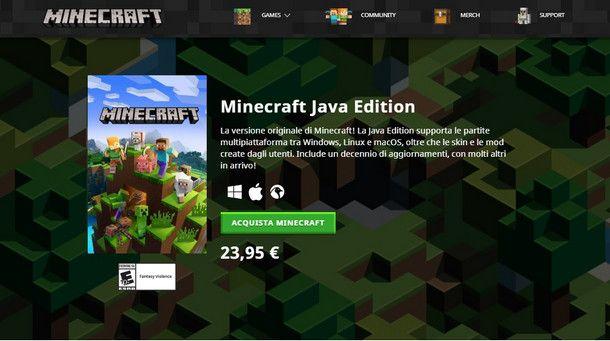 Minecraft Java Edition: la prima uscita è anche la più diffusa
