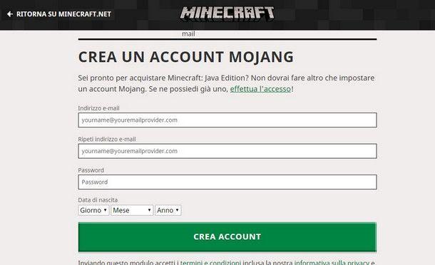Crea un account Mojang