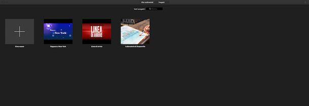 Creare un nuovo progetto su Mac