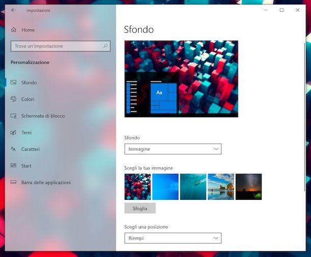Impostazioni sfondo Windows 10