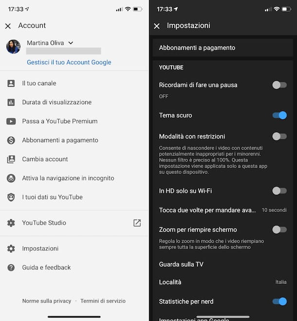 Tema scuro YouTube iOS
