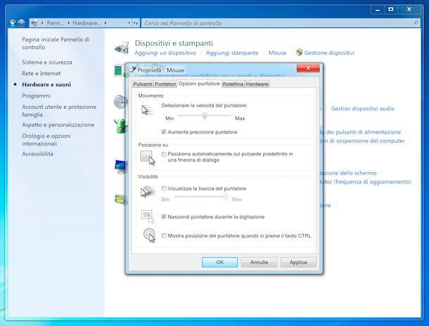 Opzioni puntatore mouse Windows 7
