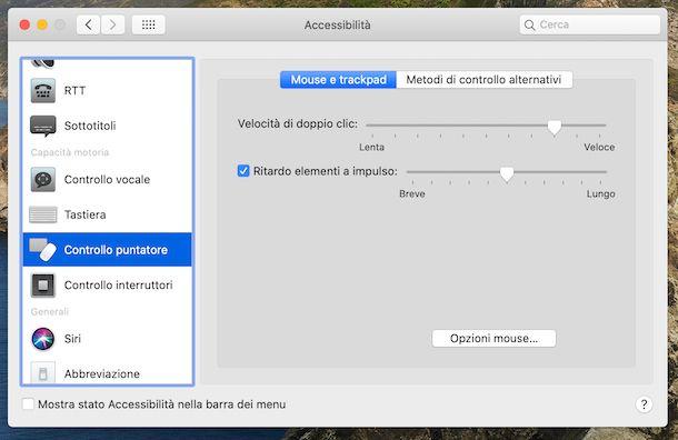 Opzioni puntatore mouse macOS