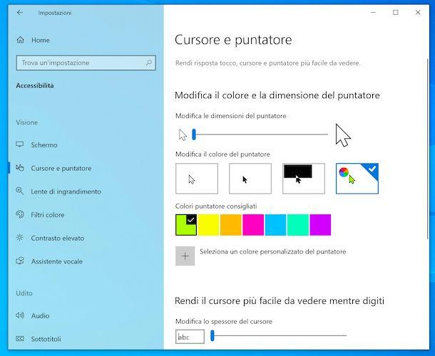 Cambiare colore puntatore Windows 10
