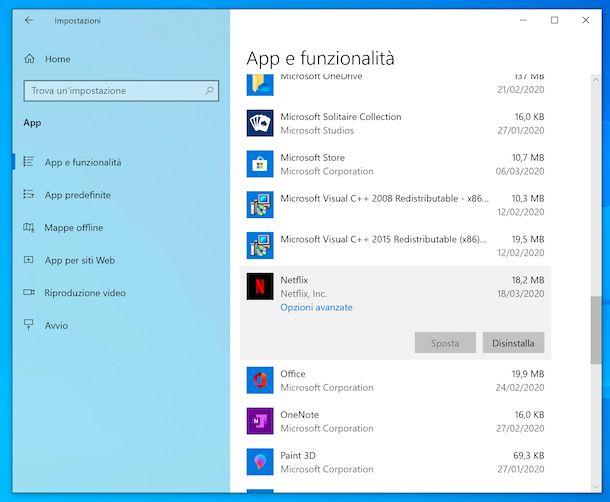 Disinstallazione applicazioni Impostazioni Windows 10