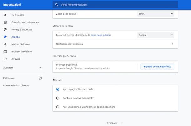Impostazioni Chrome