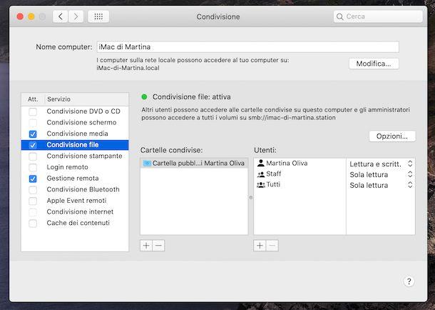 Condivisione file macOS
