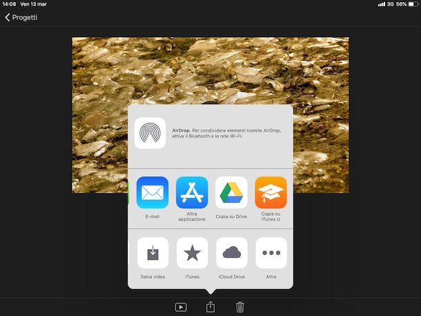 Esportare il filmato su iPhone e iPad