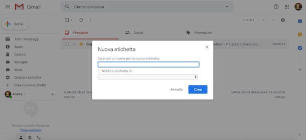 Come creare una cartella su Gmail da computer