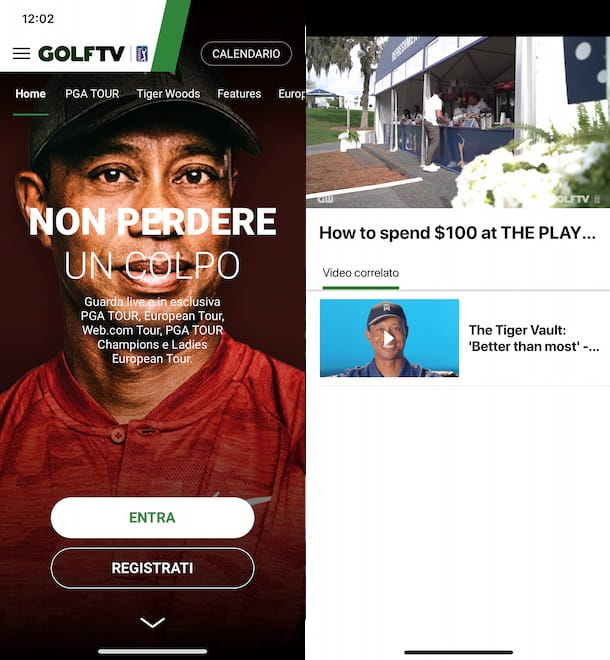 Come vedere GOLFTV da smartphone e tablet