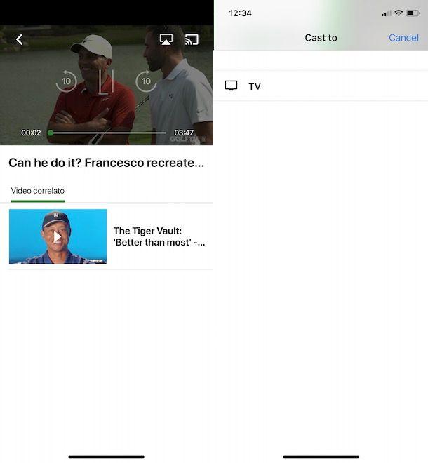 Come vedere GOLFTV sul televisore con Chromecast