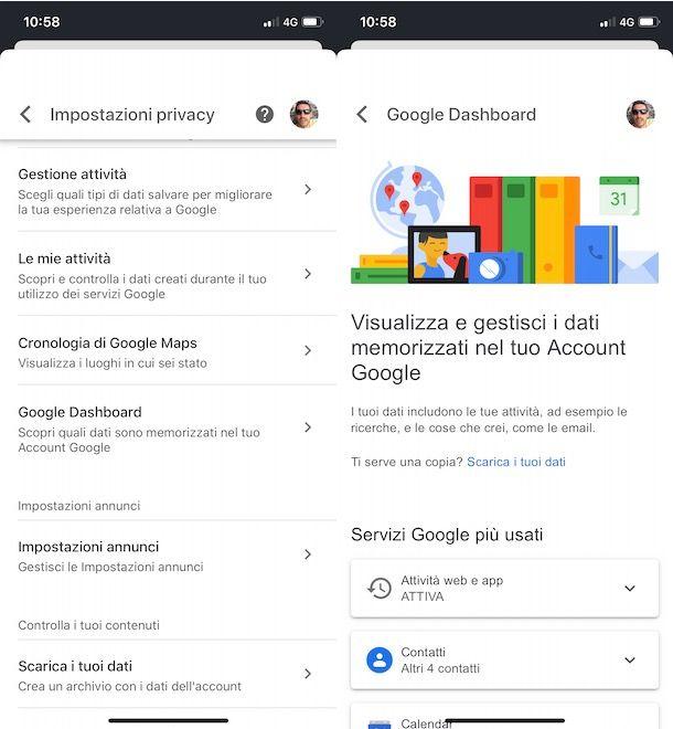 Google Dashboard da app Google