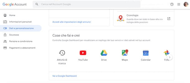Accedere a Google Dashboard
