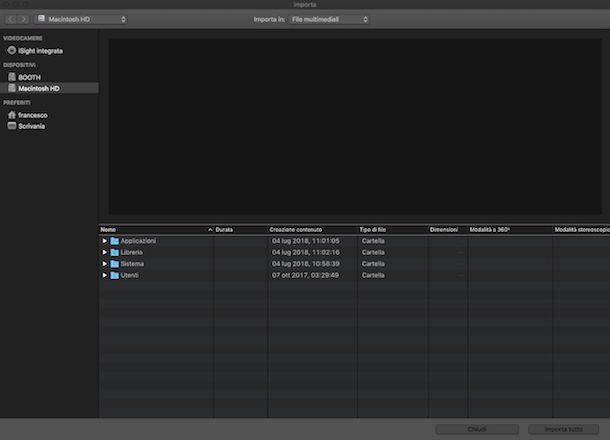 Importare file e gestire la timeline su Mac