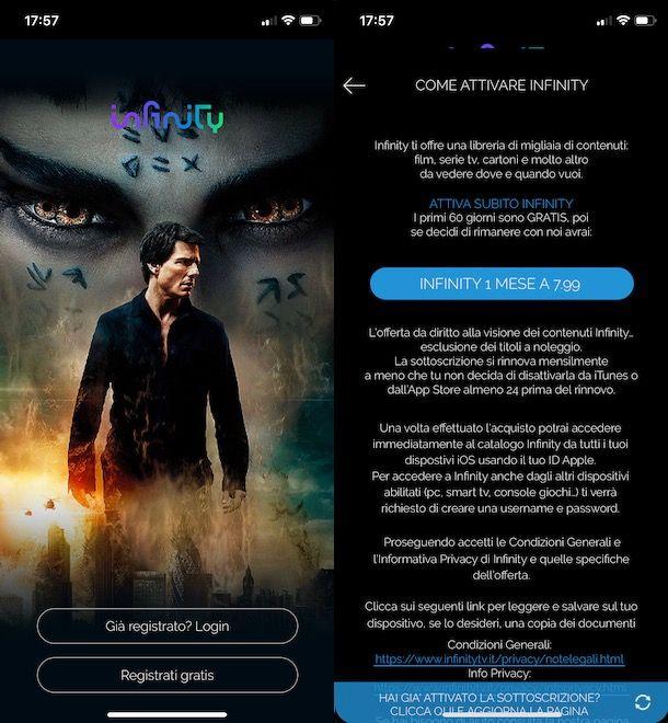 Attivare Infinity da smartphone e tablet