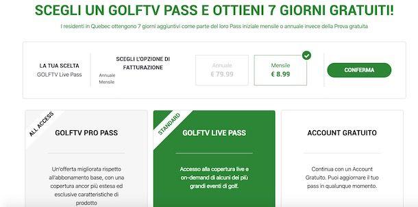Abbonamento GOLFTV