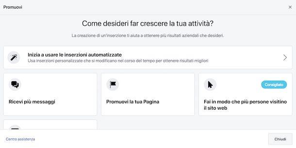 Sponsorizzare i contenuti della pagina Facebook