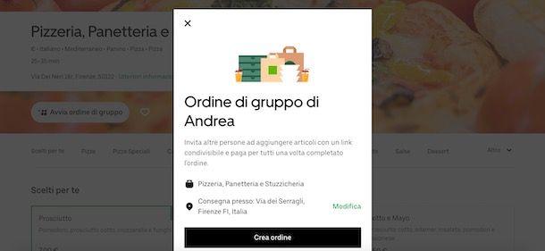 Creare un ordine di gruppo su Uber Eats