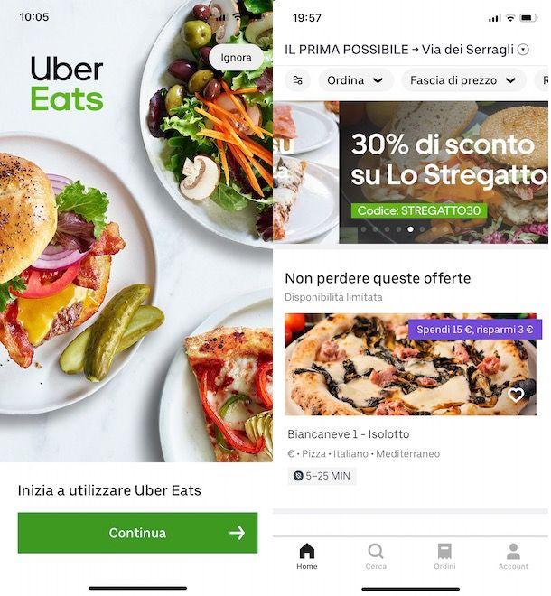Come funziona Uber Eats da smartphone e tablet