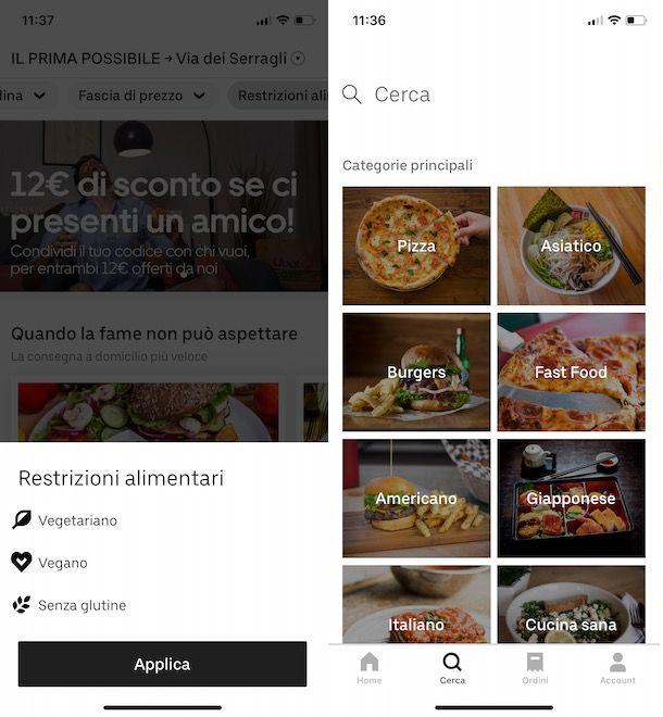 Trovare un ristorante su Uber Eats