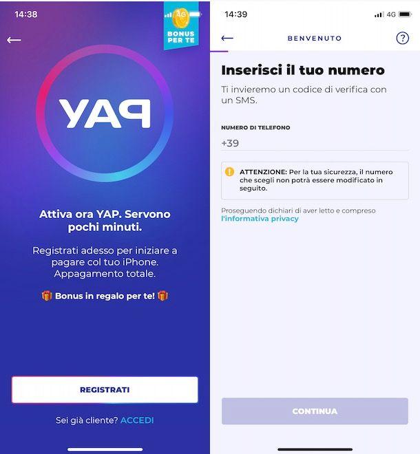 Come registrarsi a YAP