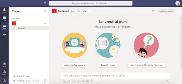 Schermata di Microsoft Teams da browser