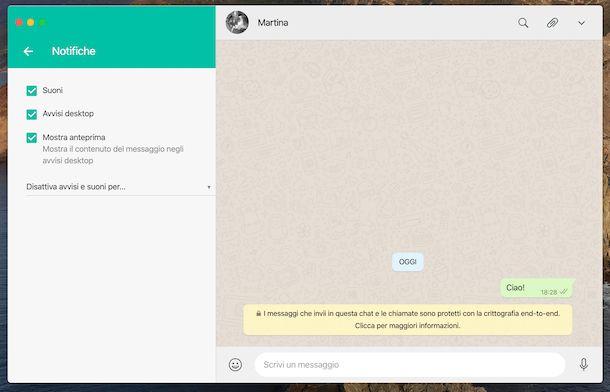 Attivare notifiche WhatsApp macOS