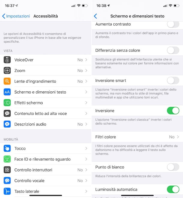 Inversione colori iOS