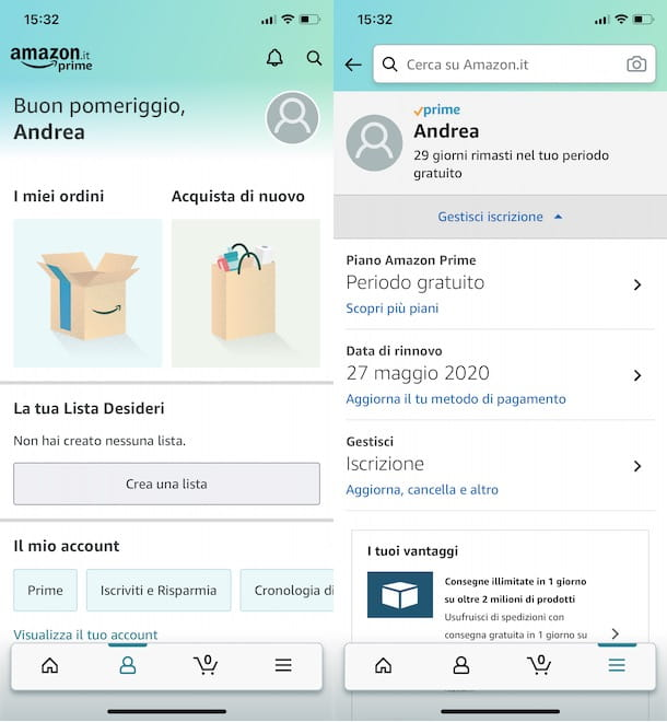 Vedere data scadenza Amazon Prime da app