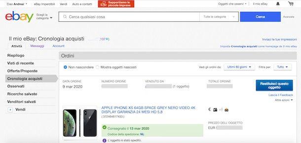 Come rintracciare ordine su eBay