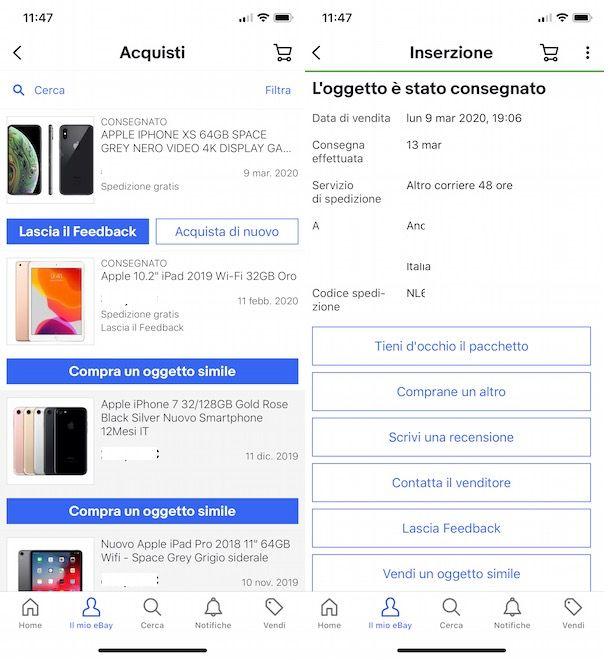 Come rintracciare ordine su eBay da smartphone e tablet