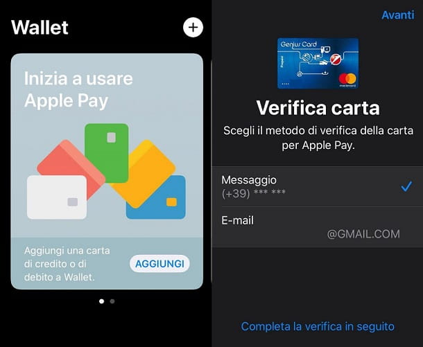 Aggiungi carta Apple Pay