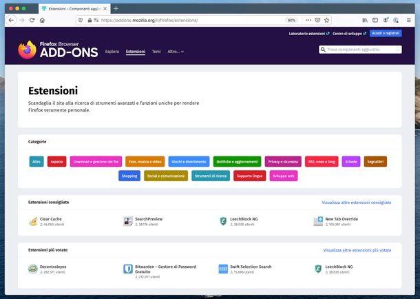 Migliori estensioni Firefox