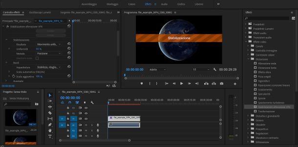 Come stabilizzare un video con Premiere
