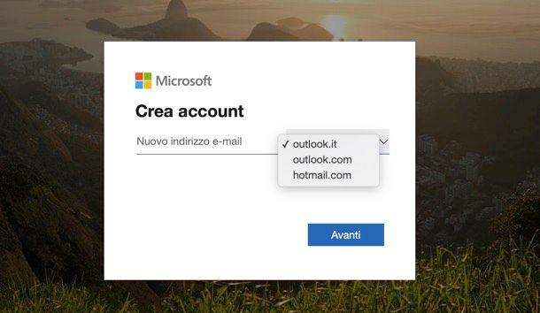 Creazione account Outlook