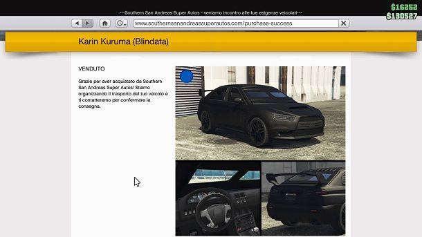 Compra veicolo GTA Online
