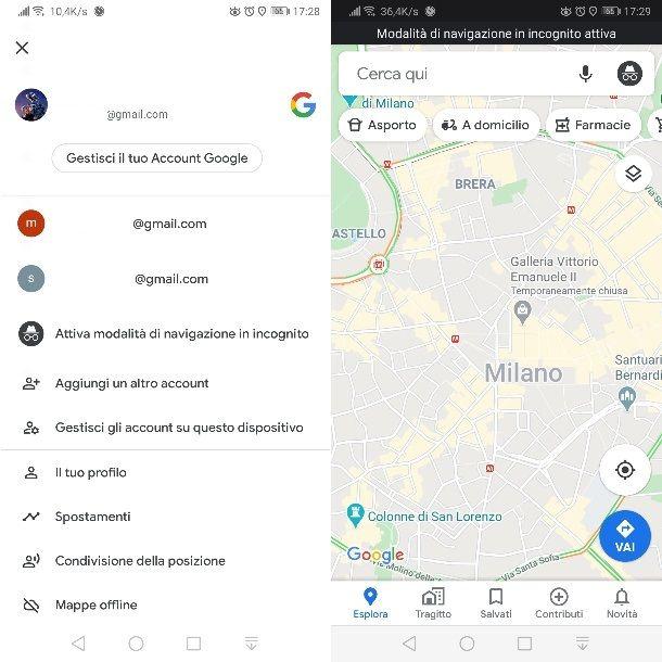 Modalità incognito Google Maps