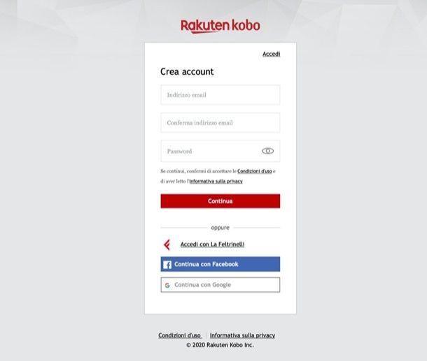 Registrazione Kobo