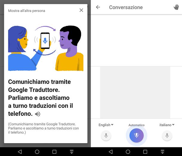 Tradurre simultaneamente con l'app Google Traduttore