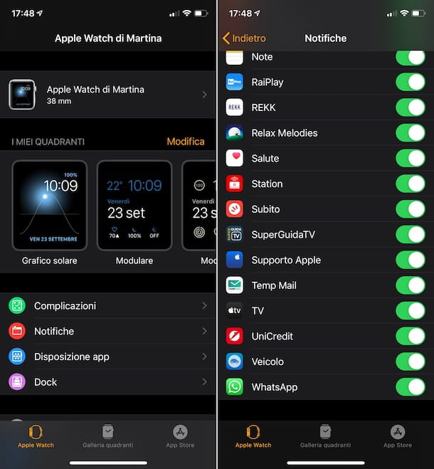 Attivare notifiche WhatsApp Apple Watch