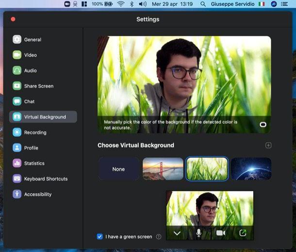 Zoom Meeting sfondo virtuale PC