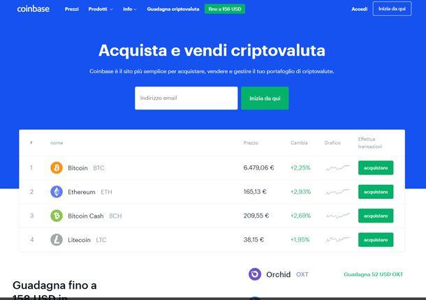 La schermata principale di Coinbase