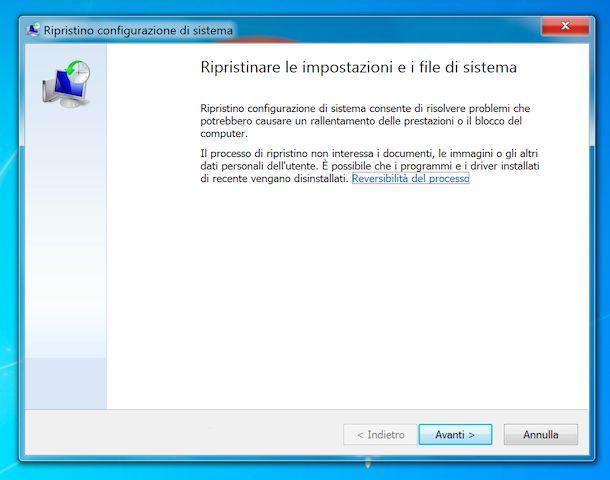 Ripristino configurazione di sistema Windows 7
