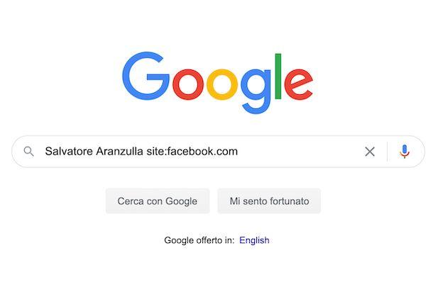 Ricerca profili Facebook con Google