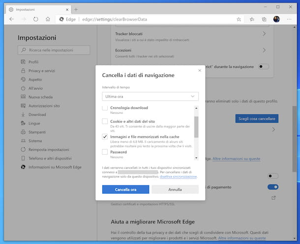 Cancellazione cache Edge Windows 10