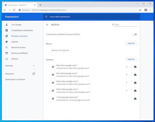 Disattivazione notifiche su Chrome per Windows