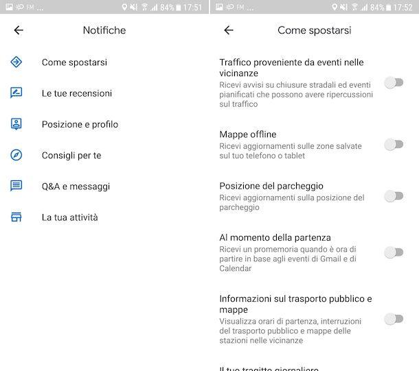 Disattivazione notifiche su Google Maps per Android